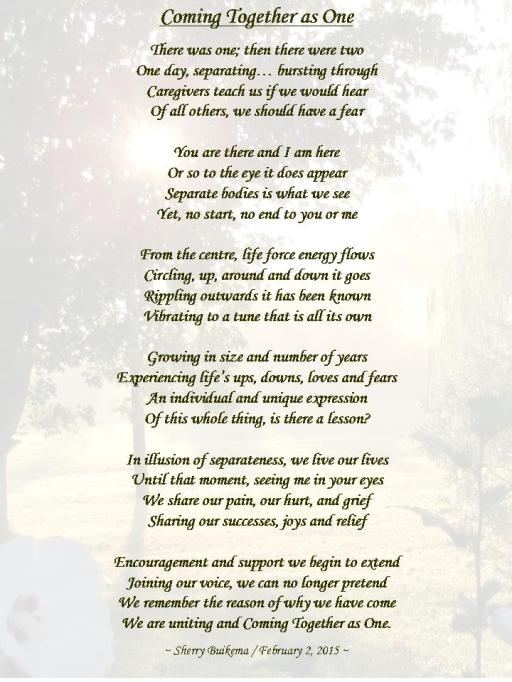Coming Together as One ~ Poem